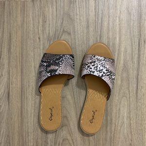 Qupid Snakeskin Sandals
